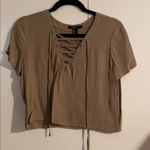 LIKE NEW Brown Lace Up T-Shirt - Size M